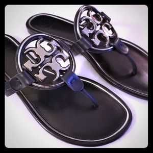 Tory Burch Shoes - Tory Burch Metal-Logo Miller Thong Sandals - NWOB